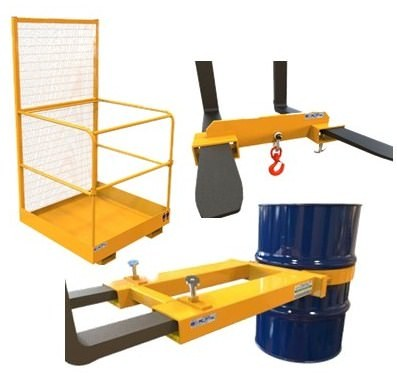 Forklift Platform, Hook and Drum Grab Attachment