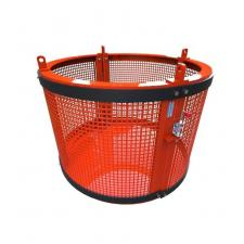Round Cage_VR.399 800x565 A round goods cage designed for the shipping industry for loading and unloading ship cargo from deck to deck. The cage comprises of a safety gate and four lifting points for chain sling attachment